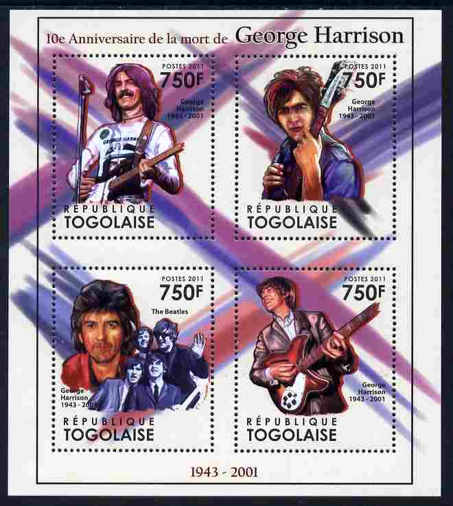 Togo 2011 Tenth Death Anniversary of George Harrison perf sheetlet containing 4 values unmounted mint