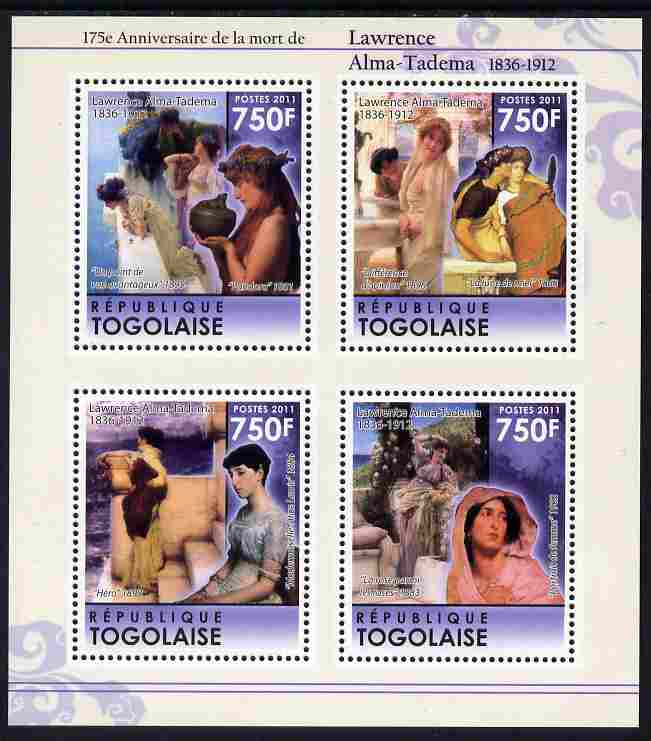 Togo 2011 175th Death Anniversary of Lawrence Alma-Tadema perf sheetlet containing 4 values unmounted mint