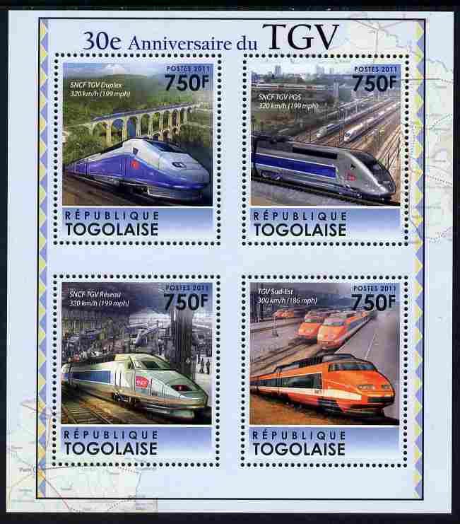 Togo 2011 30th Anniversary of TGV perf sheetlet containing 4 values unmounted mint