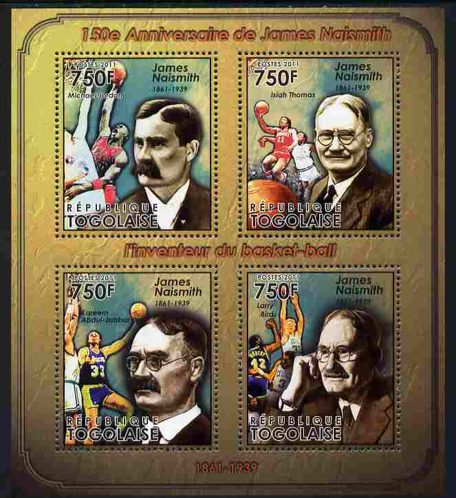 Togo 2011 150th Birth Anniversary of James Naismith (basketball) perf sheetlet containing 4 values unmounted mint