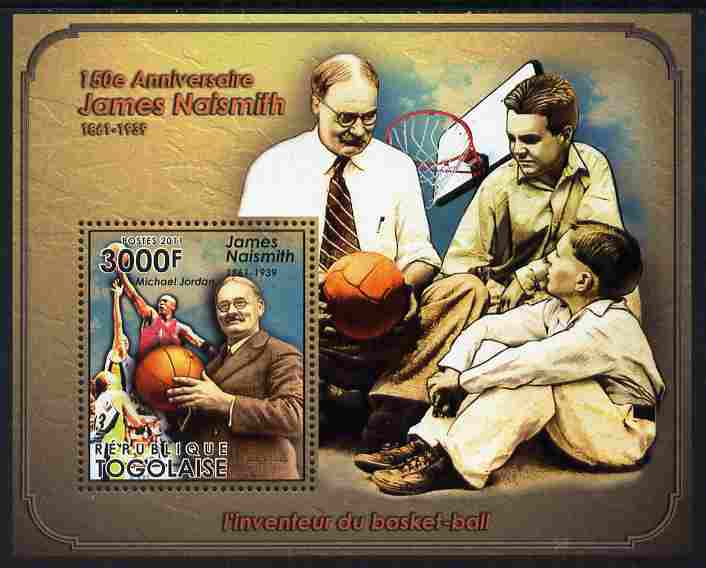 Togo 2011 150th Birth Anniversary of James Naismith (basketball) perf m/sheet unmounted mint
