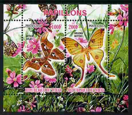 Chad 2011 Butterflies #1 perf sheetlet containing 2 values unmounted mint