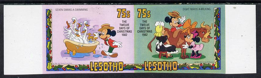 Lesotho 1982 Walt Disney Christmas 75s unmounted mint imperf se-tenant pair, as SG 529a