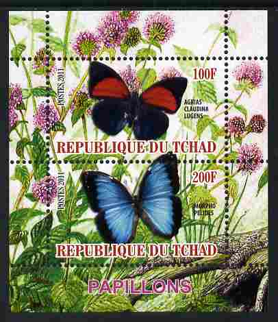 Chad 2011 Butterflies #4 perf sheetlet containing 2 values unmounted mint