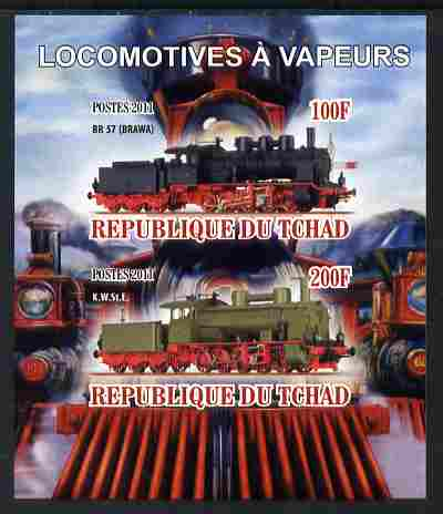 Chad 2011 Steam Locomotives imperf sheetlet containing 2 values unmounted mint, stamps on railways