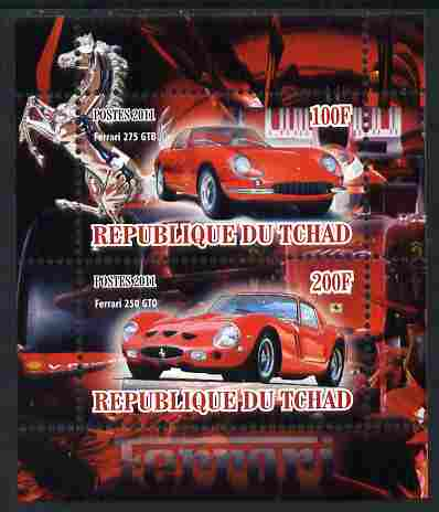 Chad 2011 Ferrari Cars perf sheetlet containing 2 values unmounted mint