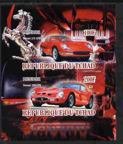 Chad 2011 Ferrari Cars imperf sheetlet containing 2 values unmounted mint