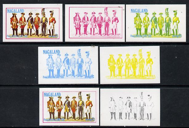 Nagaland 1977 French Militia 1c set of 7 imperf progressive colour proofs comprising the 4 individual colours plus 2, 3 and all 4-colour composites unmounted mint