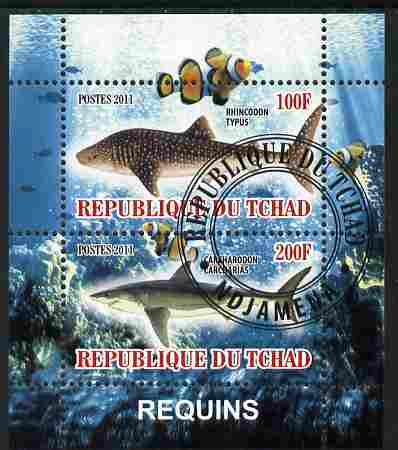 Chad 2011 Sharks perf sheetlet containing 2 values cto used