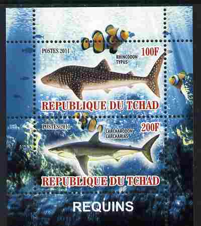Chad 2011 Sharks perf sheetlet containing 2 values unmounted mint