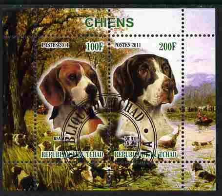 Chad 2011 Dogs perf sheetlet containing 2 values cto used