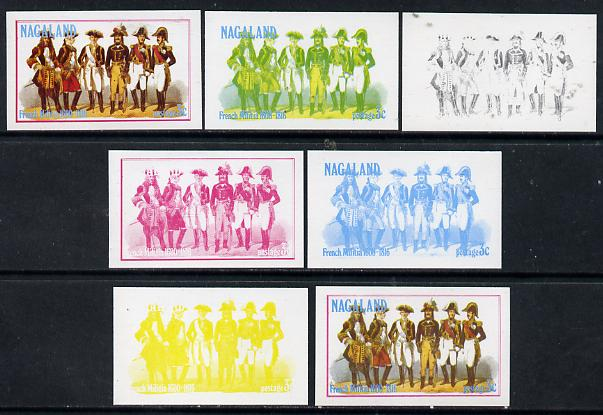 Nagaland 1977 French Militia 3c set of 7 imperf progressive colour proofs comprising the 4 individual colours plus 2, 3 and all 4-colour composites unmounted mint