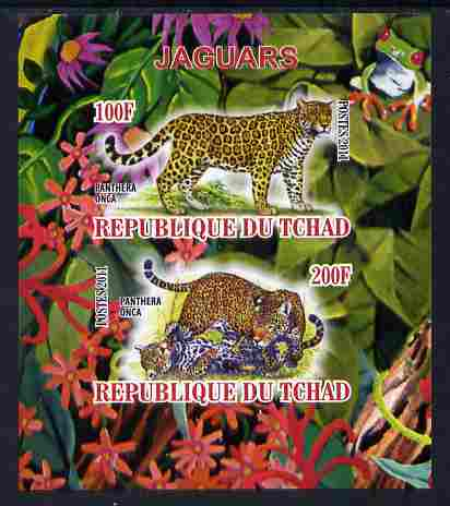 Chad 2011 Leopards imperf sheetlet containing 2 values unmounted mint