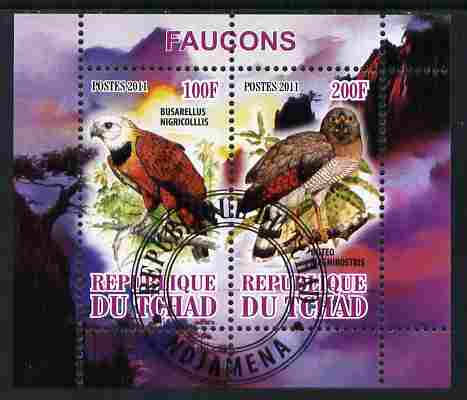 Chad 2011 Birds of Prey perf sheetlet containing 2 values cto used
