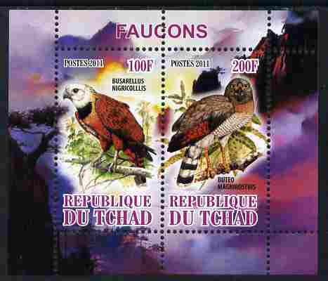Chad 2011 Birds of Prey perf sheetlet containing 2 values unmounted mint
