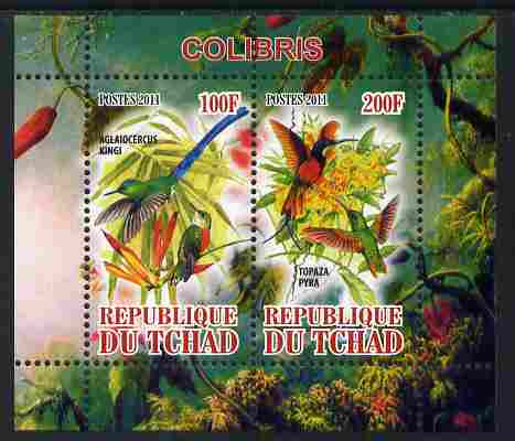 Chad 2011 Humming Birds perf sheetlet containing 2 values unmounted mint