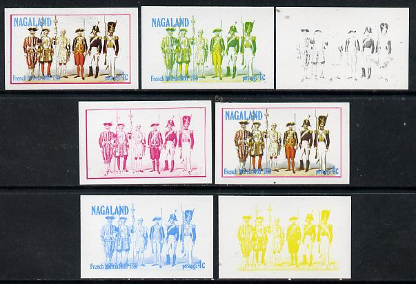 Nagaland 1977 French Militia 4c set of 7 imperf progressive colour proofs comprising the 4 individual colours plus 2, 3 and all 4-colour composites unmounted mint