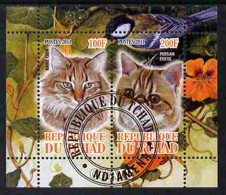 Chad 2011 Domestic Cats perf sheetlet containing 2 values cto used