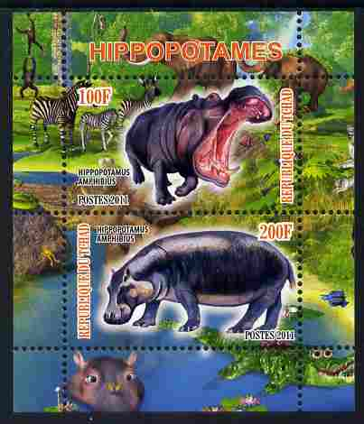 Chad 2011 Hippos perf sheetlet containing 2 values unmounted mint