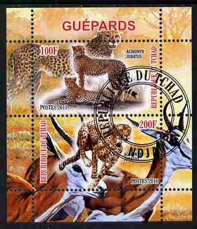 Chad 2011 Cheetahs perf sheetlet containing 2 values cto used