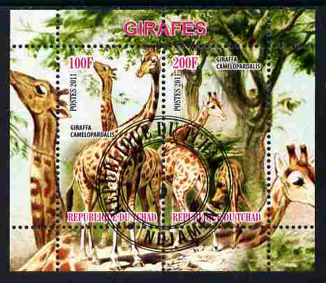 Chad 2011 Giraffes perf sheetlet containing 2 values cto used