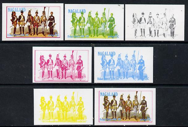 Nagaland 1977 French Militia 15c set of 7 imperf progressive colour proofs comprising the 4 individual colours plus 2, 3 and all 4-colour composites unmounted mint