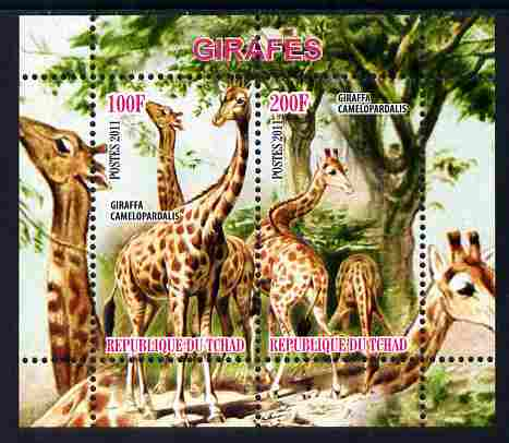 Chad 2011 Giraffes perf sheetlet containing 2 values unmounted mint