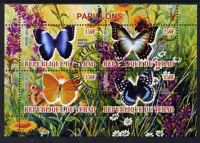 Chad 2011 Butterflies #2 perf sheetlet containing 4 values cto used