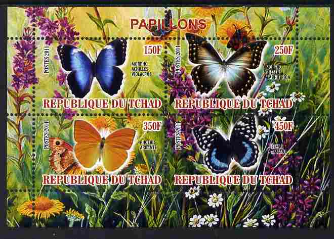 Chad 2011 Butterflies #2 perf sheetlet containing 4 values unmounted mint