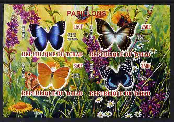 Chad 2011 Butterflies #2 imperf sheetlet containing 4 values unmounted mint