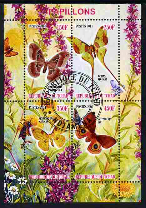 Chad 2011 Butterflies #5 perf sheetlet containing 4 values cto used