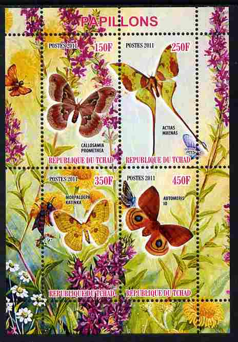 Chad 2011 Butterflies #5 perf sheetlet containing 4 values unmounted mint