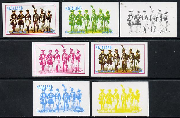 Nagaland 1977 French Militia 25c set of 7 imperf progressive colour proofs comprising the 4 individual colours plus 2, 3 and all 4-colour composites unmounted mint