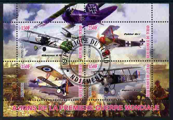 Chad 2011 Aircraft of World War 1 perf sheetlet containing 4 values cto used, stamps on aviation, stamps on  ww1 , stamps on