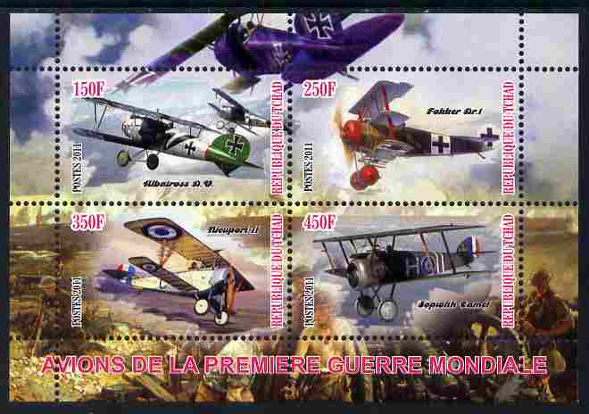 Chad 2011 Aircraft of World War 1 perf sheetlet containing 4 values unmounted mint