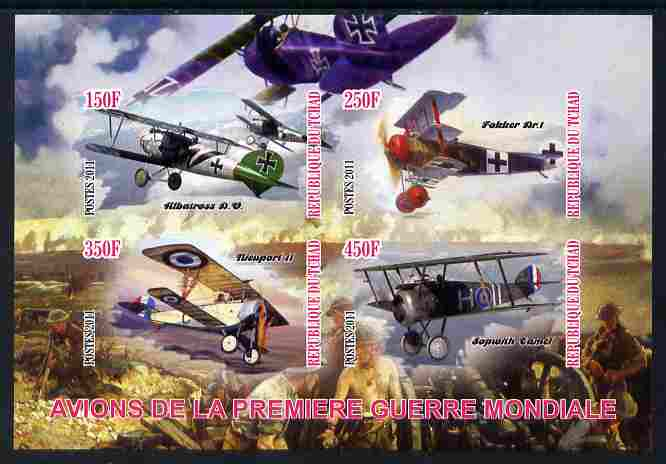 Chad 2011 Aircraft of World War 1 imperf sheetlet containing 4 values unmounted mint