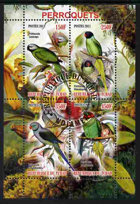 Chad 2011 Parrots perf sheetlet containing 4 values cto used