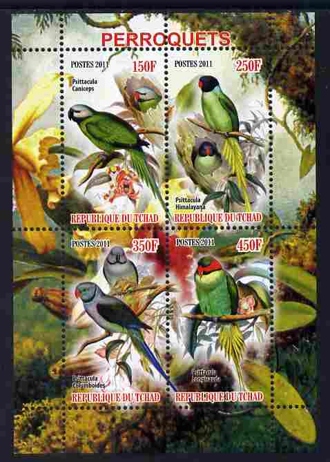 Chad 2011 Parrots perf sheetlet containing 4 values unmounted mint