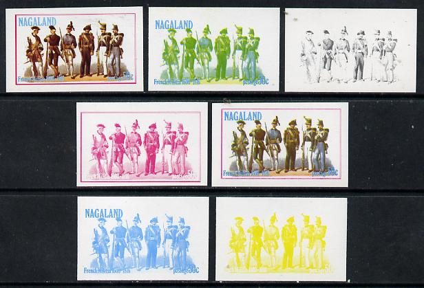 Nagaland 1977 French Militia 50c set of 7 imperf progressive colour proofs comprising the 4 individual colours plus 2, 3 and all 4-colour composites unmounted mint