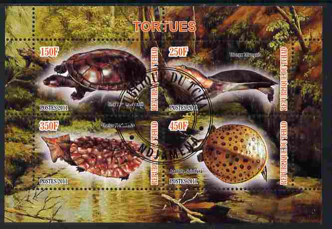 Chad 2011 Turtles #1 perf sheetlet containing 4 values cto used