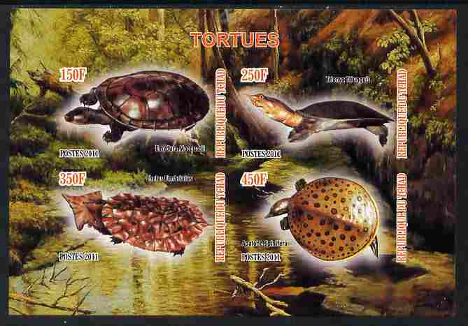 Chad 2011 Turtles #1 imperf sheetlet containing 4 values unmounted mint