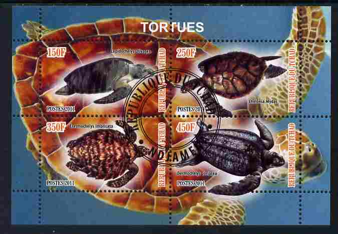 Chad 2011 Turtles #2 perf sheetlet containing 4 values cto used
