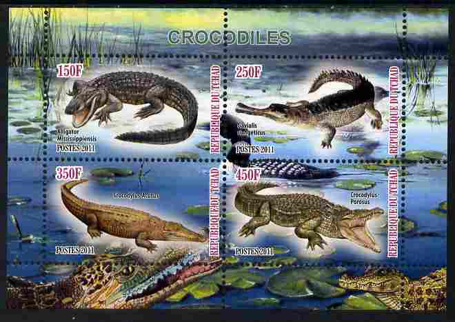Chad 2011 Crocodiles perf sheetlet containing 4 values unmounted mint, stamps on reptiles, stamps on crocodiles