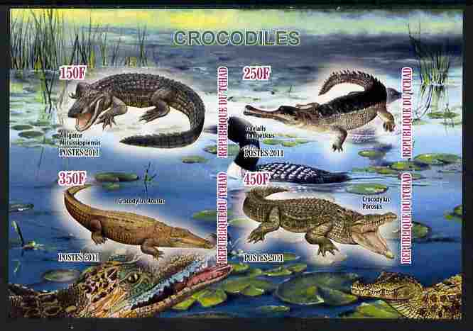 Chad 2011 Crocodiles imperf sheetlet containing 4 values unmounted mint