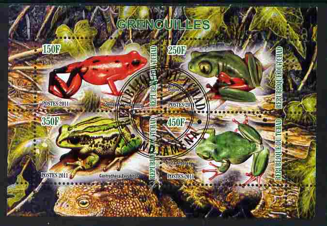 Chad 2011 Frogs #1 perf sheetlet containing 4 values cto used