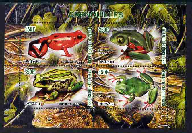 Chad 2011 Frogs #1 perf sheetlet containing 4 values unmounted mint
