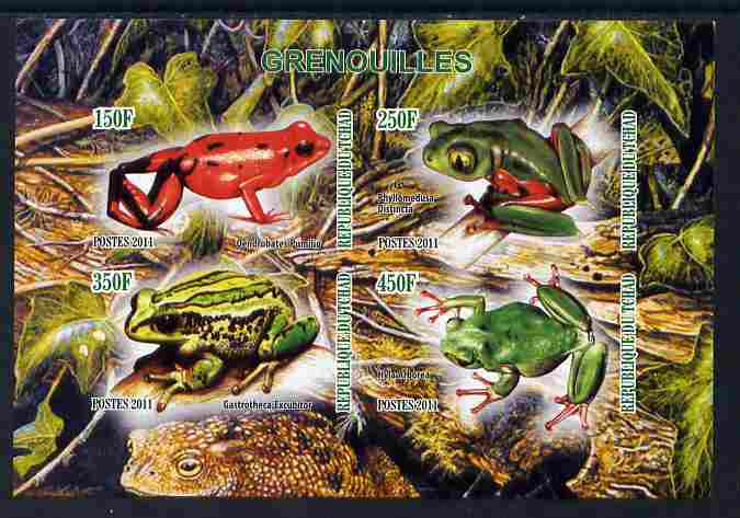 Chad 2011 Frogs #1 imperf sheetlet containing 4 values unmounted mint