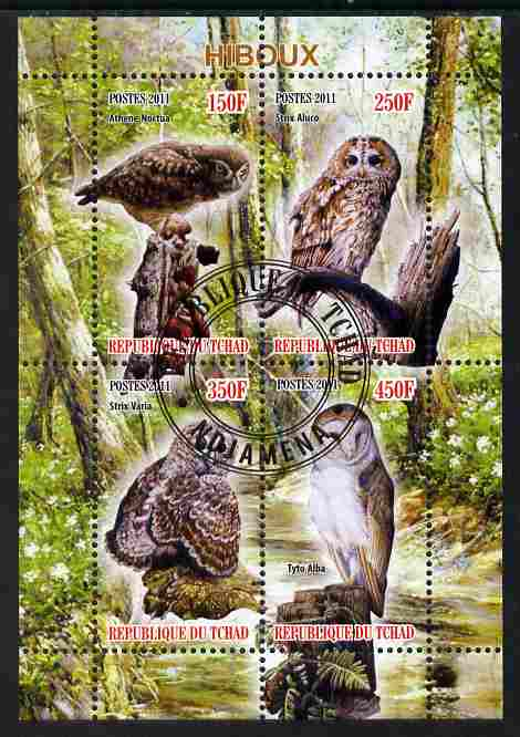 Chad 2011 Owls perf sheetlet containing 4 values cto used