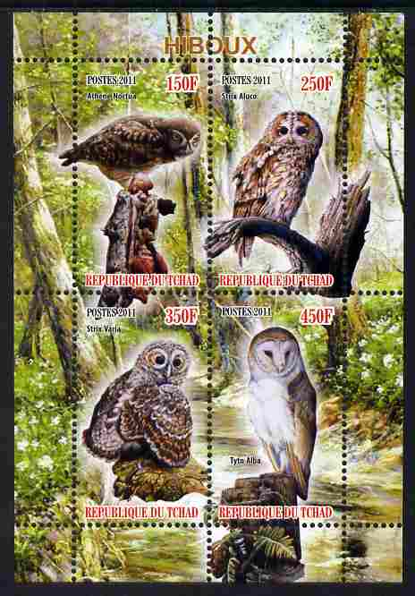 Chad 2011 Owls perf sheetlet containing 4 values unmounted mint