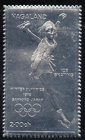 Nagaland 1972 Olympics (Ice Skating) 2ch value embossed in silver foil (perf) unmounted mint